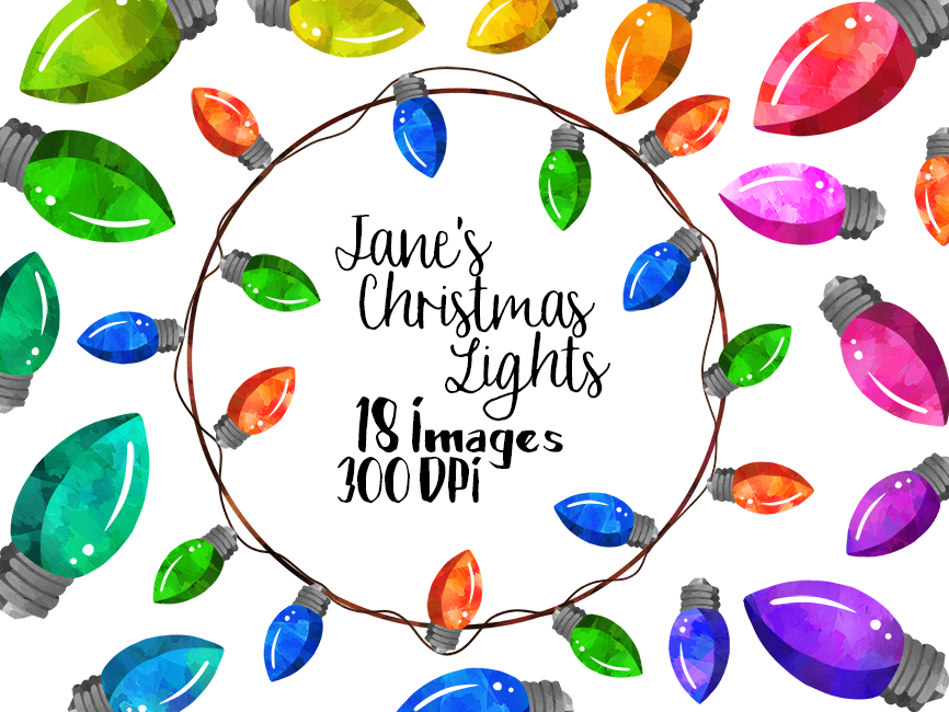 Watercolor Christmas Lights Clipart By Digitalartsi