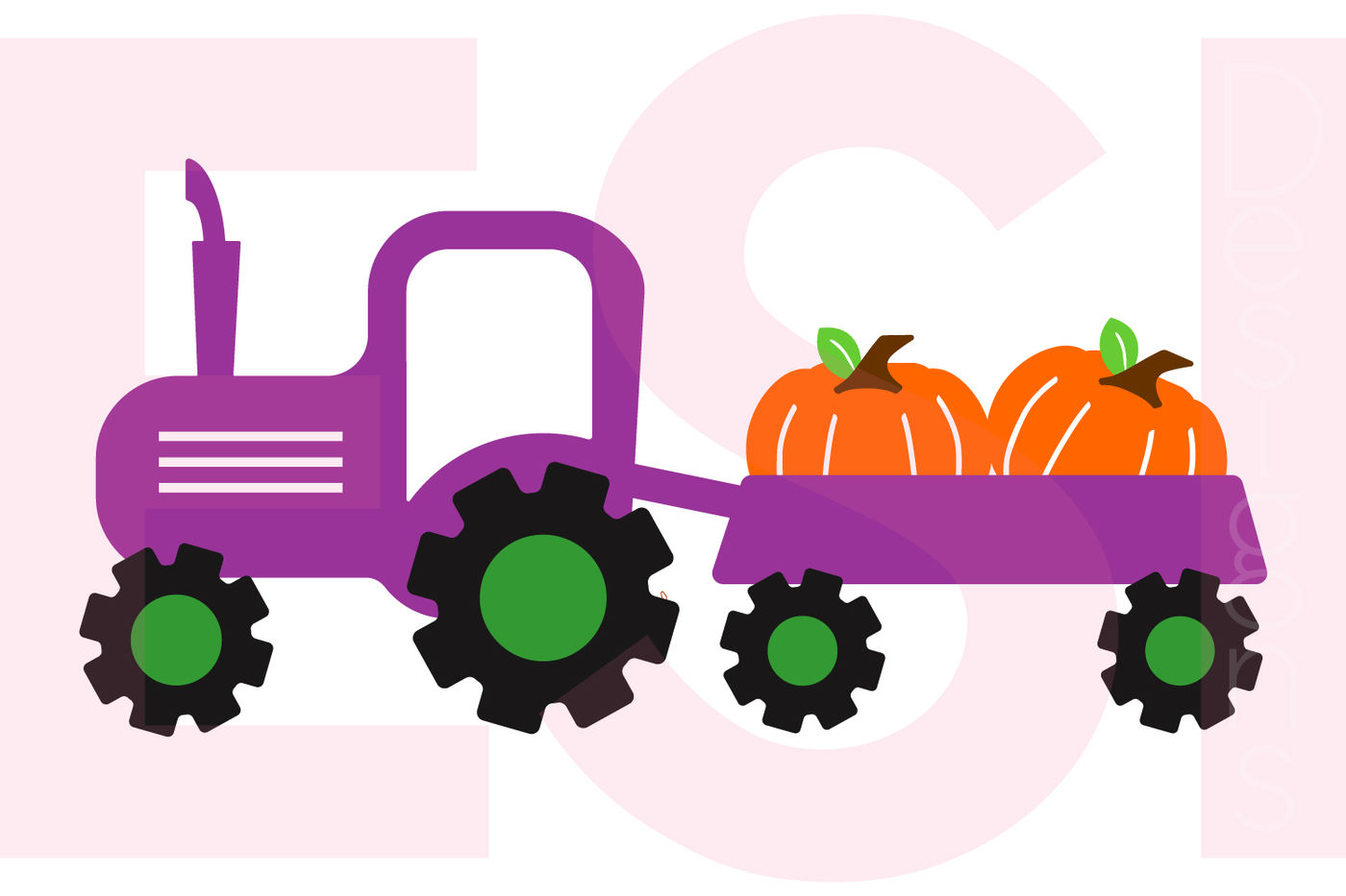 Tractor And Pumpkin Design Svg Dxf Eps Cutting Files By Esi Designs Thehungryjpeg Com