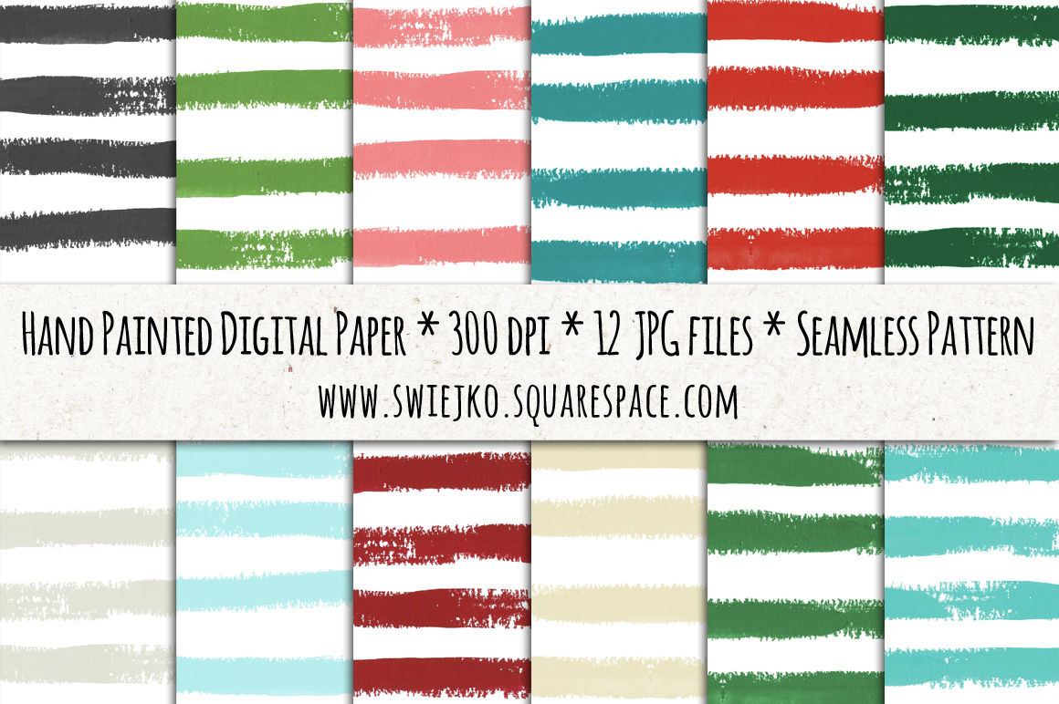 Stripes Digital Paper Christmas Background Watercolor Brush