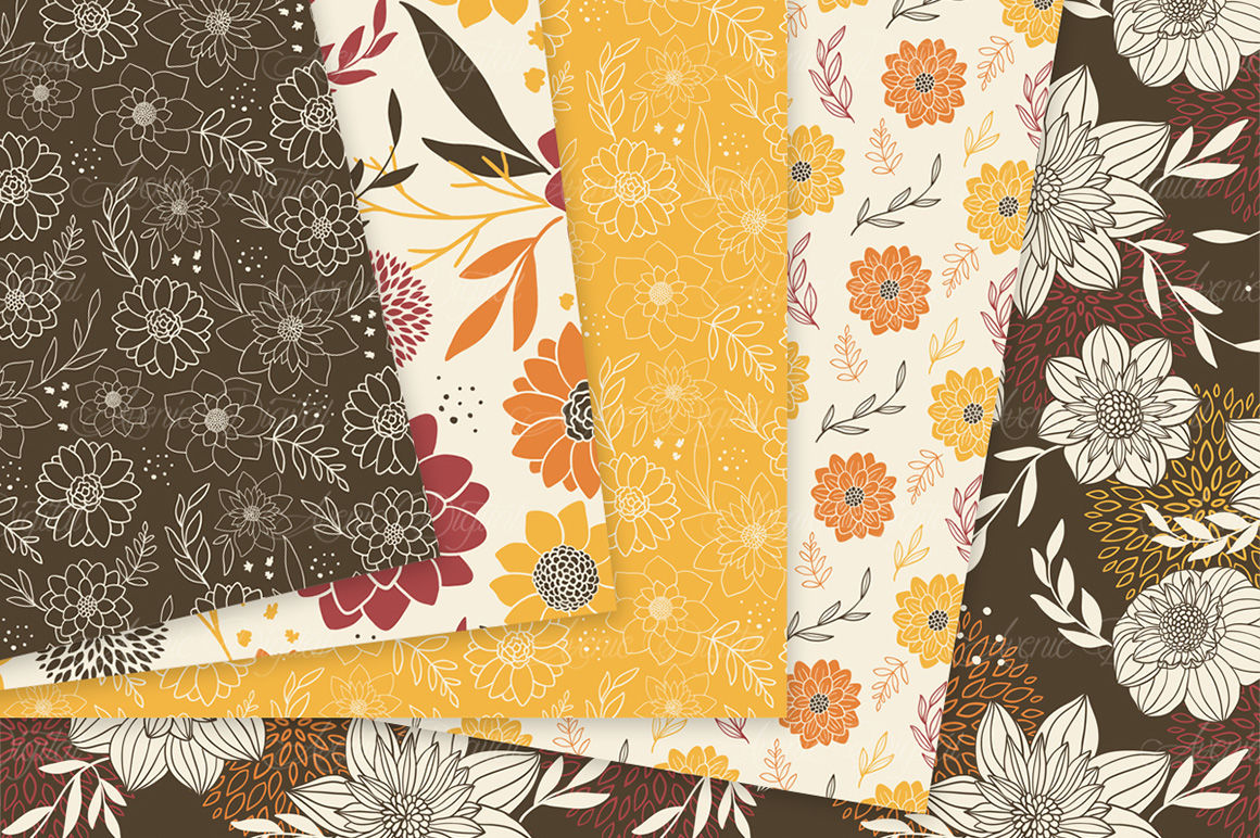 Autumn Floral Digital Paper Flower Vector Patterns By