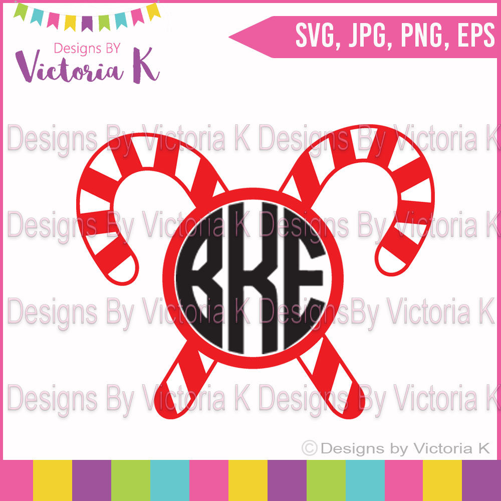 Get Candy Cane With Bow, Monogram, Svg Cut File Design