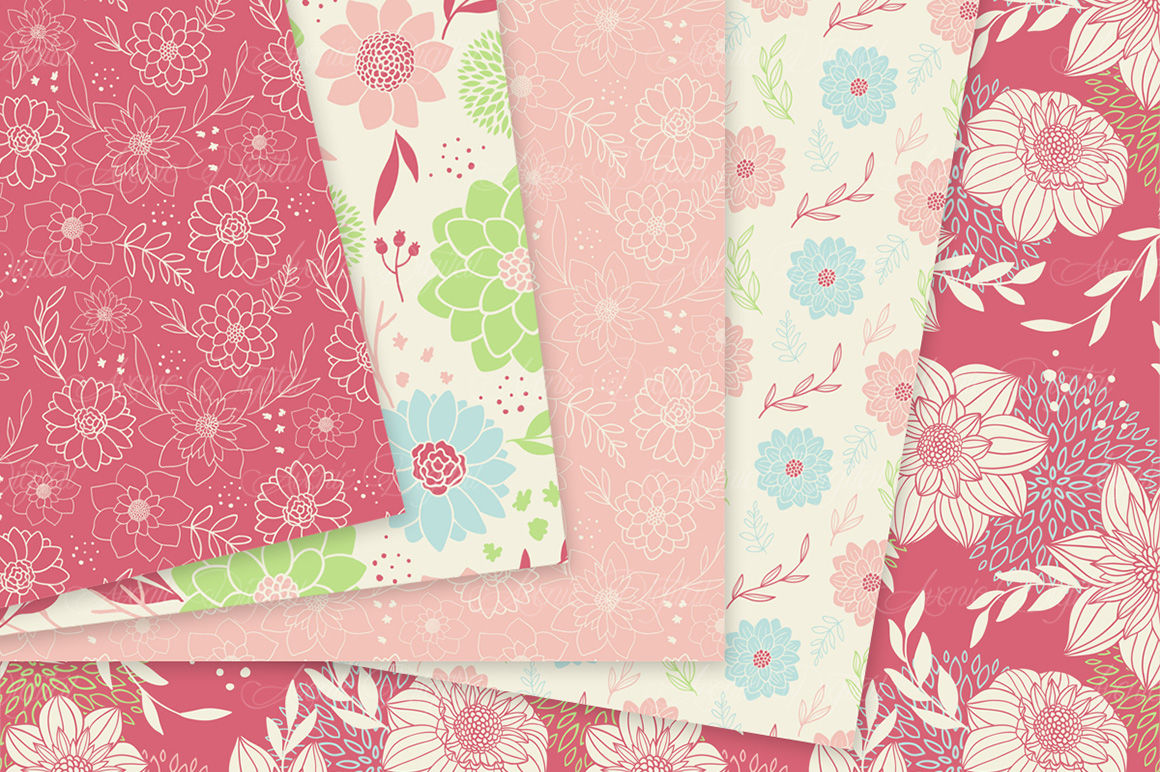 Spring Flowers Vector Patterns And Floral Digital Paper By