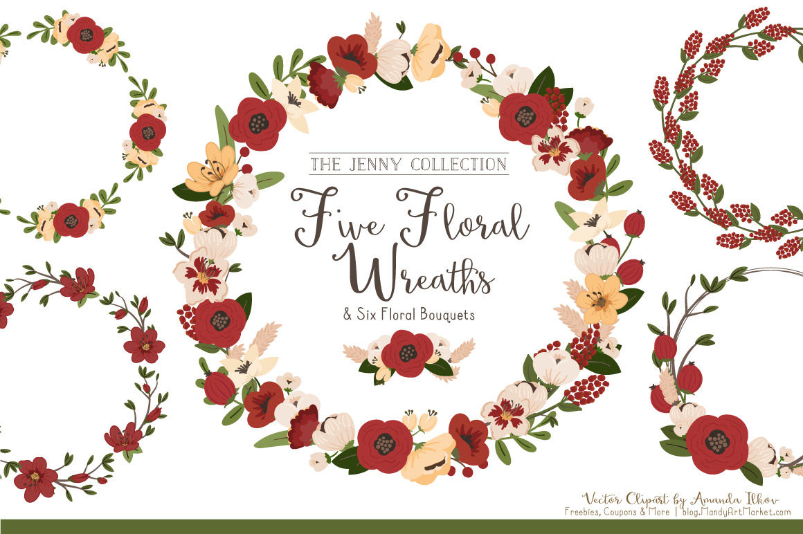 Jenny Vector Floral Wreaths Bouquets In Christmas By Amanda