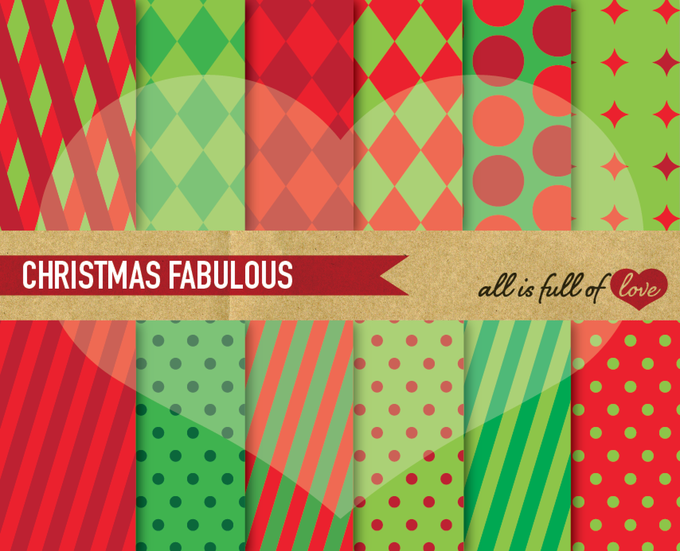 Christmas Geometric Background Patterns Red And Green By All Is