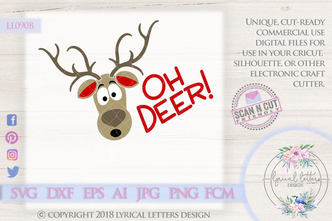 Oh Deer Reindeer Christmas Design Svg Dxf Fcm Eps Ai Jpg Png By