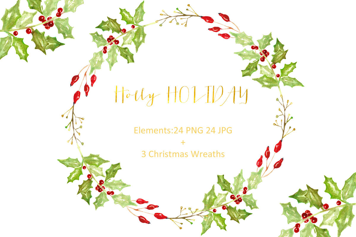 Holly Holiday Christmas Watercolor Clipart By Labfcreations