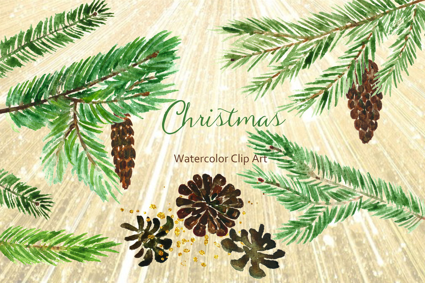 Winter Christmas Watercolor Clipart By Labfcreations