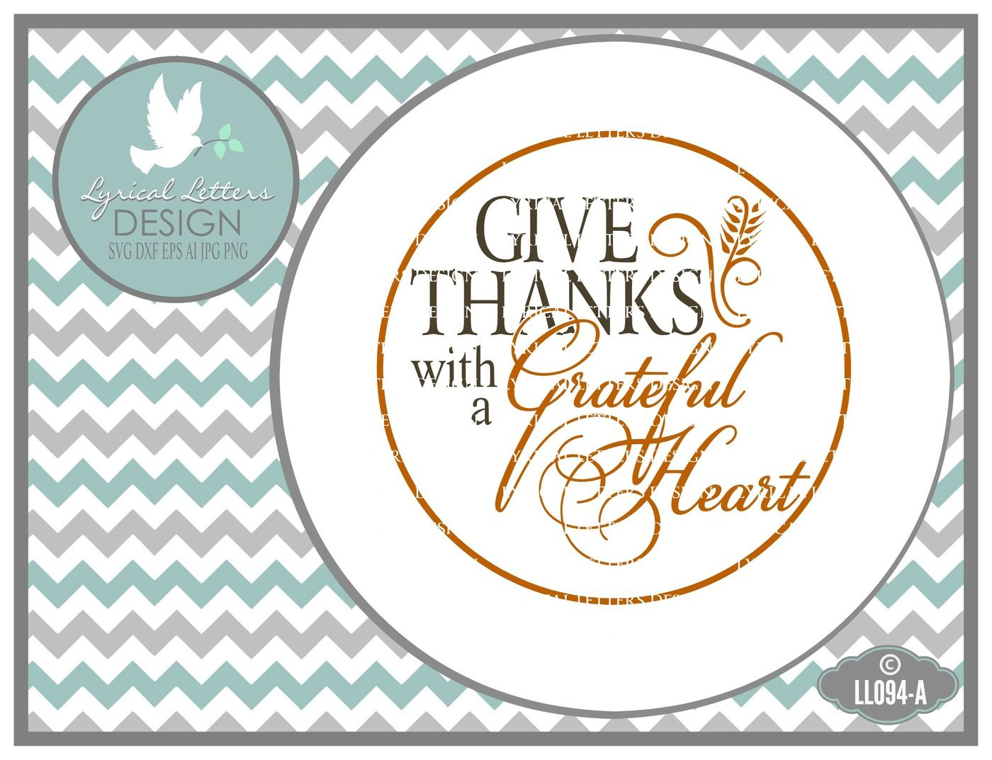 Give Thanks With A Grateful Heart Plate Design Svg Dxf Eps Ai Jpg