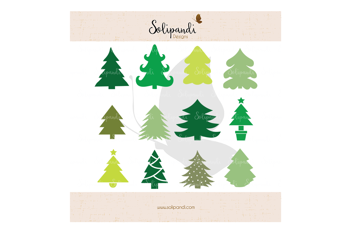 Christmas Tree Bundle Svg And Dxf Cut Files For Cricut Silhouette Die Cut Machines Scrapbooking Paper Crafts Solipandi 115 By Solipandi Designs Thehungryjpeg Com