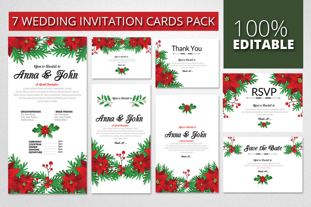 Wedding Invitation Pack Templates By Designhub Thehungryjpeg Com