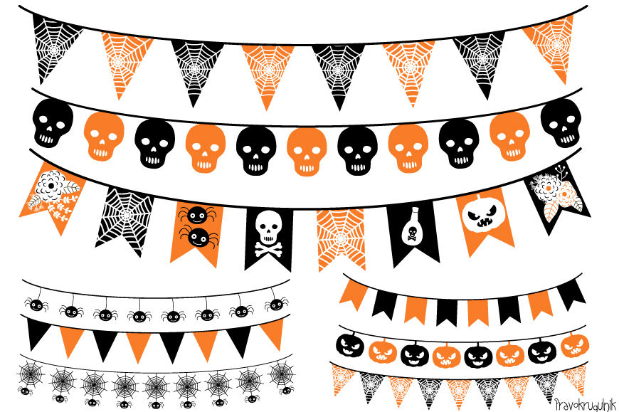 Halloween banner, Halloween bunting , Garland clipart By ...