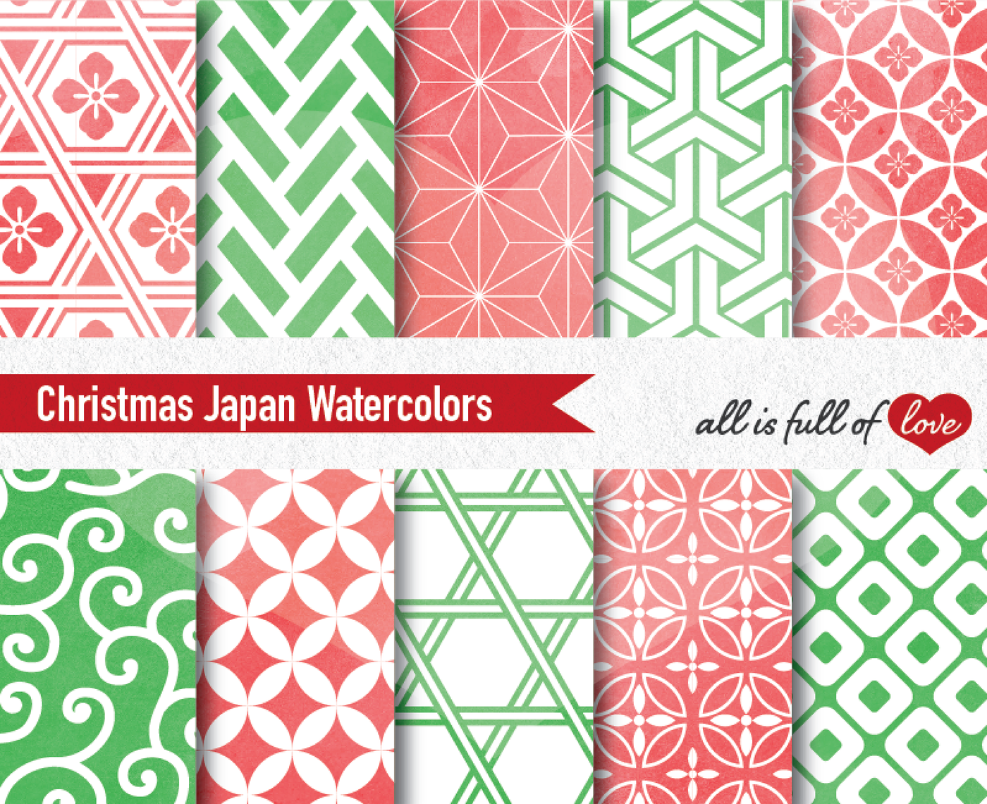 Christmas Watercolor Patterns Seamless Japanese Graphics Red And