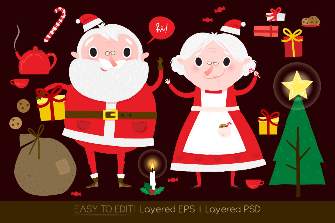 Santa Claus And Christmas Drawings By Side Project Thehungryjpeg Com