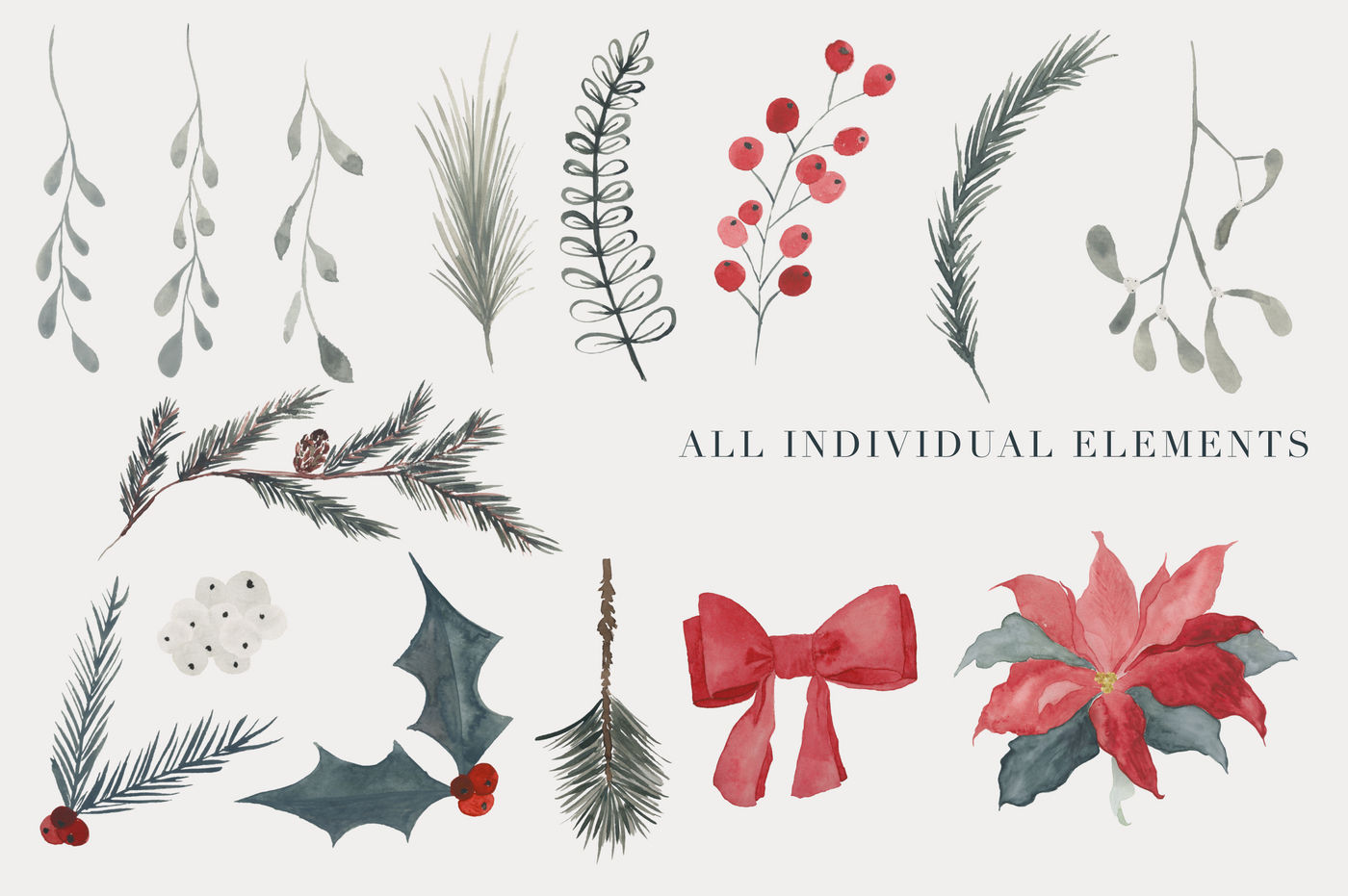 Christmas Watercolor Clipart By The Autumn Rabbit Ltd