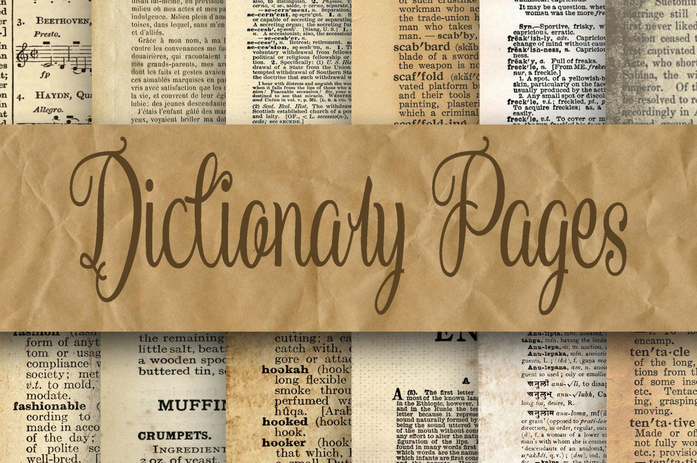 Dictionary Pages Digital Paper 2 Sizes 8 5x11 And 12x12 By