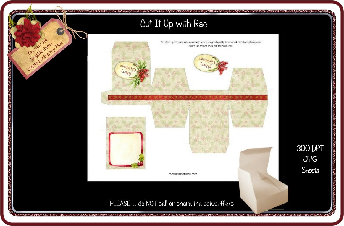 Ps178 Christmas Jewelry Gift Box Printable Sheet By Cut It Up With