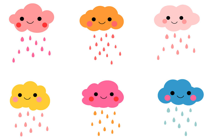 Clouds kawaii. Cute clipart digital rain