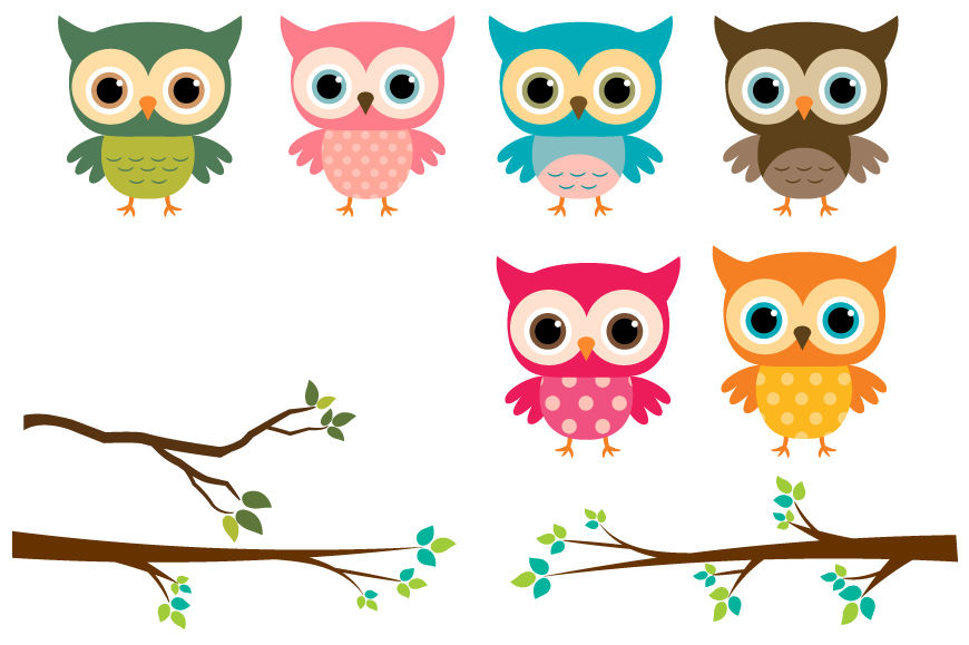 Cute Owls Clipart, Colorful Owl on Tree Branches By ...