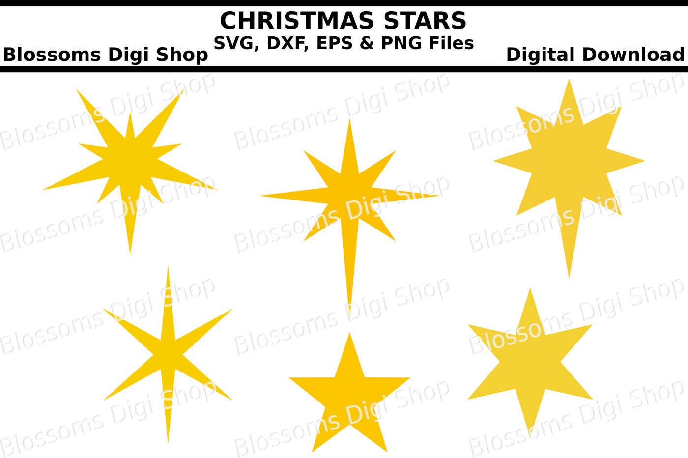 Christmas Stars Svg Eps Dxf And Png Cut Files By Blossoms Digi