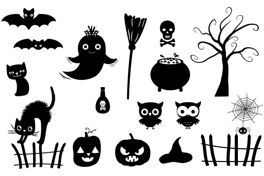 Halloween Silhouettes Clipart Black Silhouette Set By Pravokrugulnik Thehungryjpeg Com