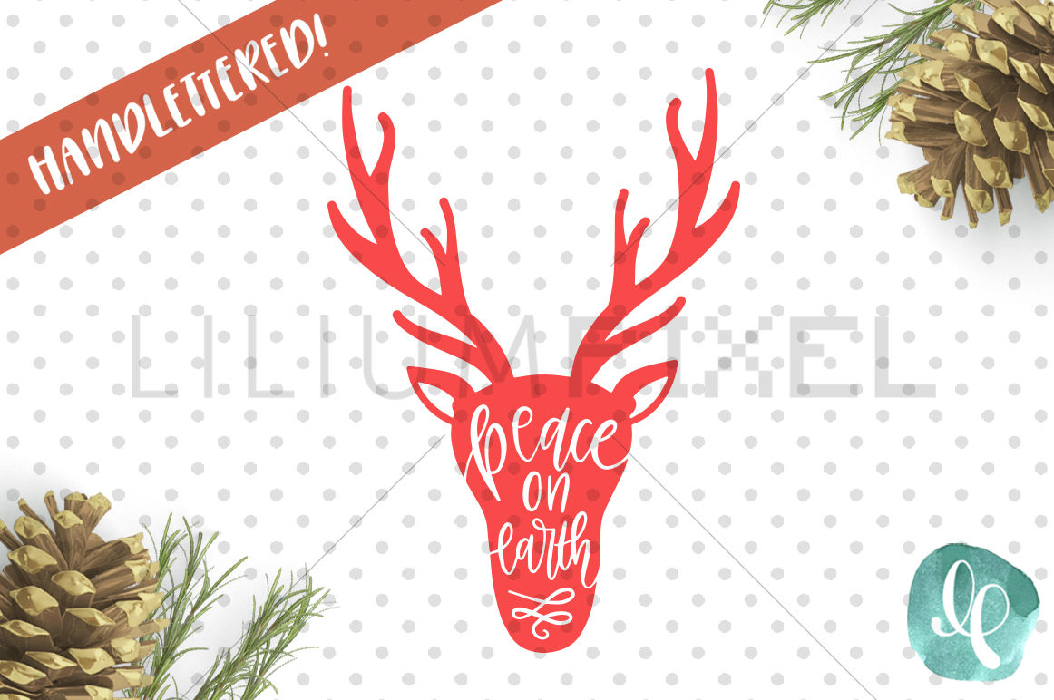 Deer Peace On Earth Svg Png Dxf By Lilium Pixel Svg