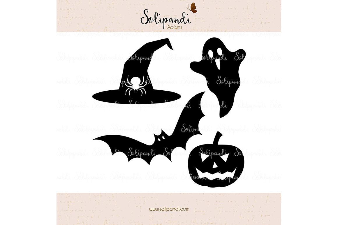 Halloween Set Ghost Witch Hat Pumpkin Bat Svg And Dxf Cut Files By Solipandi Designs Thehungryjpeg Com