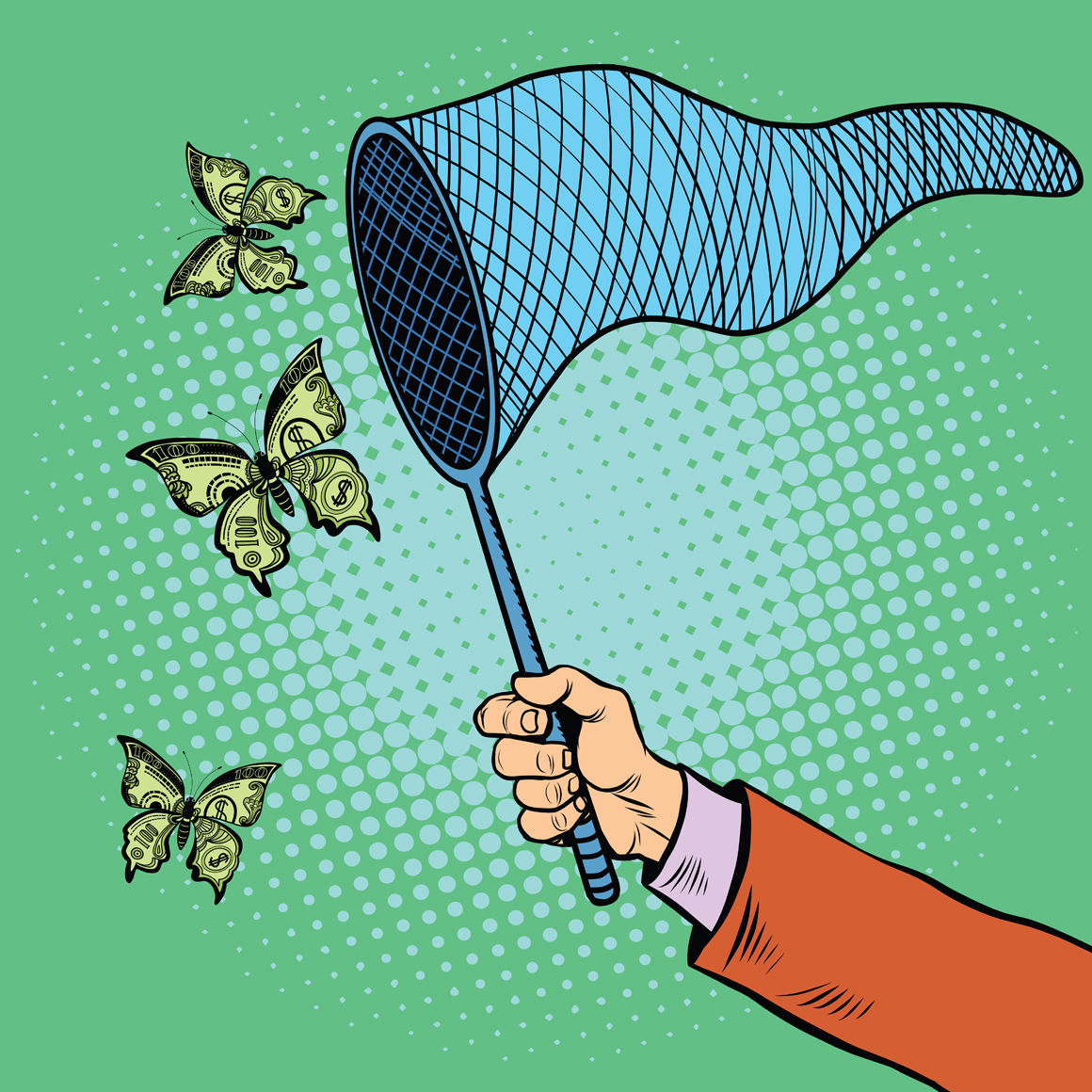 Businessman Catching Money With A Butterfly Net By Studiostoks