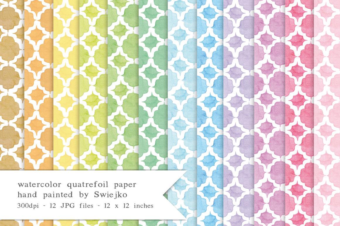 Quatrefoil Digital Paper Watercolor Background Pastel Colors By