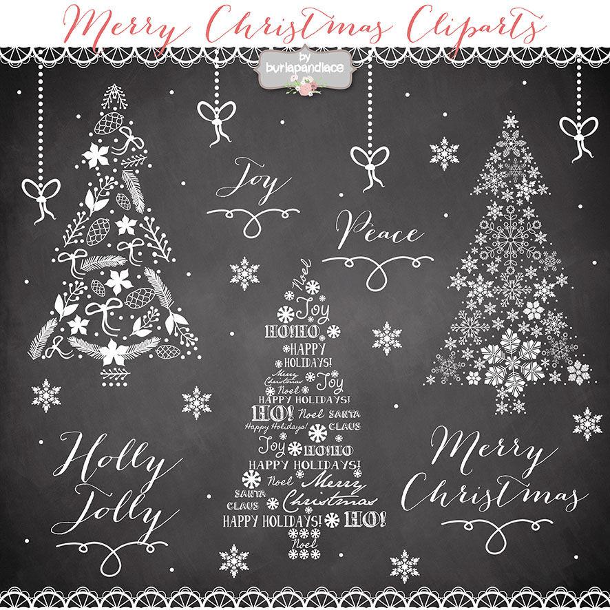 Vector Clipart Christmas Tree Chalkboard By Burlapandlace