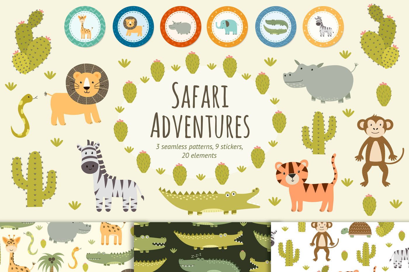 Safari Adventures Patterns Stickers By Juliyas Art
