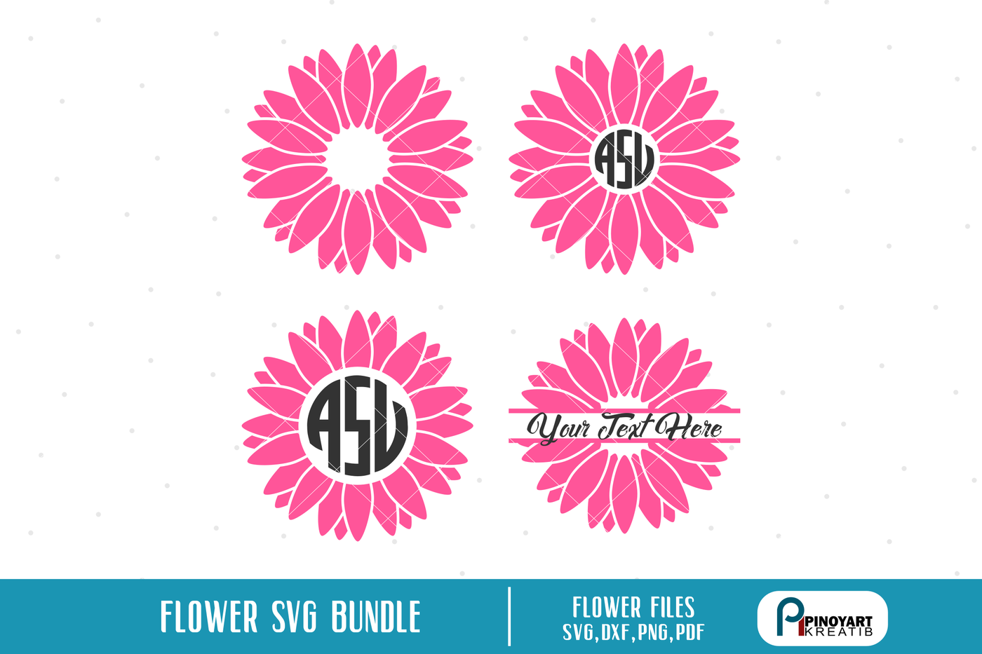 Flower Monogram Flower Svg Flower Monogram Flower Svg File Floral