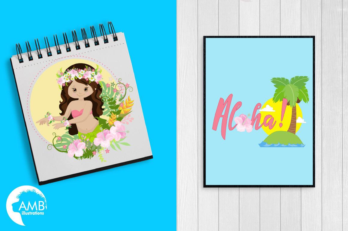Hawaiian Girls, Aloha, Luan clipart, graphics, illustrations AMB