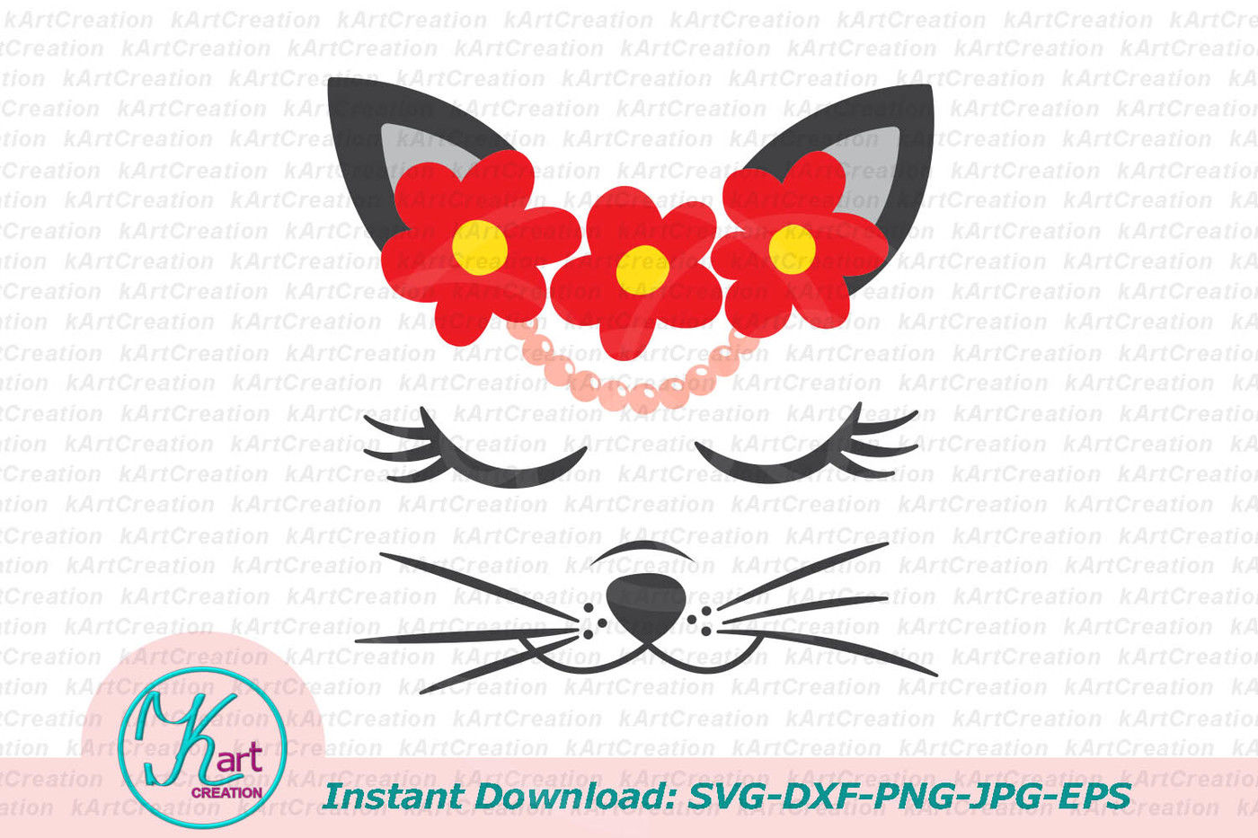 Cat Face Svg Flowers Svg Cat Face Iron Transfer Pearls Svg By