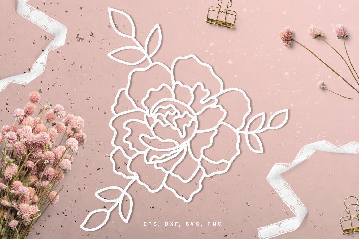 Floral Peony Digital Cut File Svg Dxf Png Eps By Inna Moreva