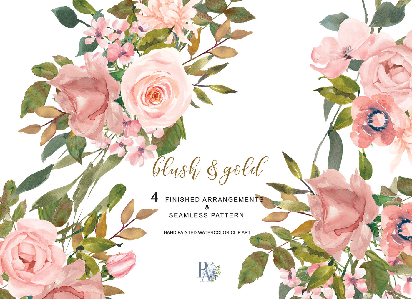 Watercolor Flower Clipart Blush Rose Gold Leaves Clipart ...