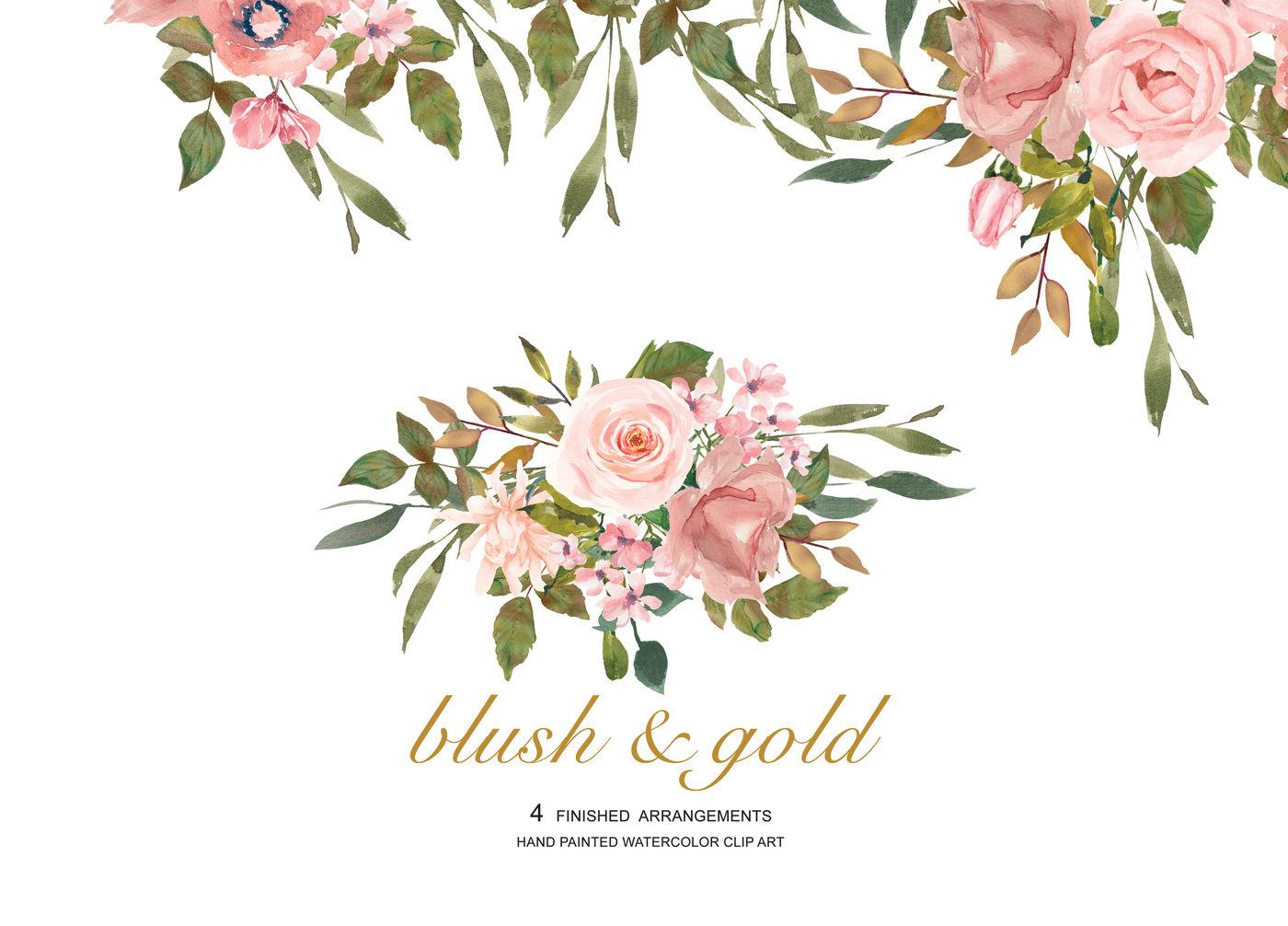Watercolor Flower Clipart Blush Rose Gold Leaves Clipart ... (1400 x 1006 Pixel)