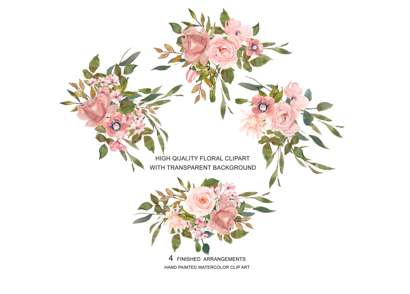 Watercolor Flower Clipart Blush Rose Gold Leaves Clipart By