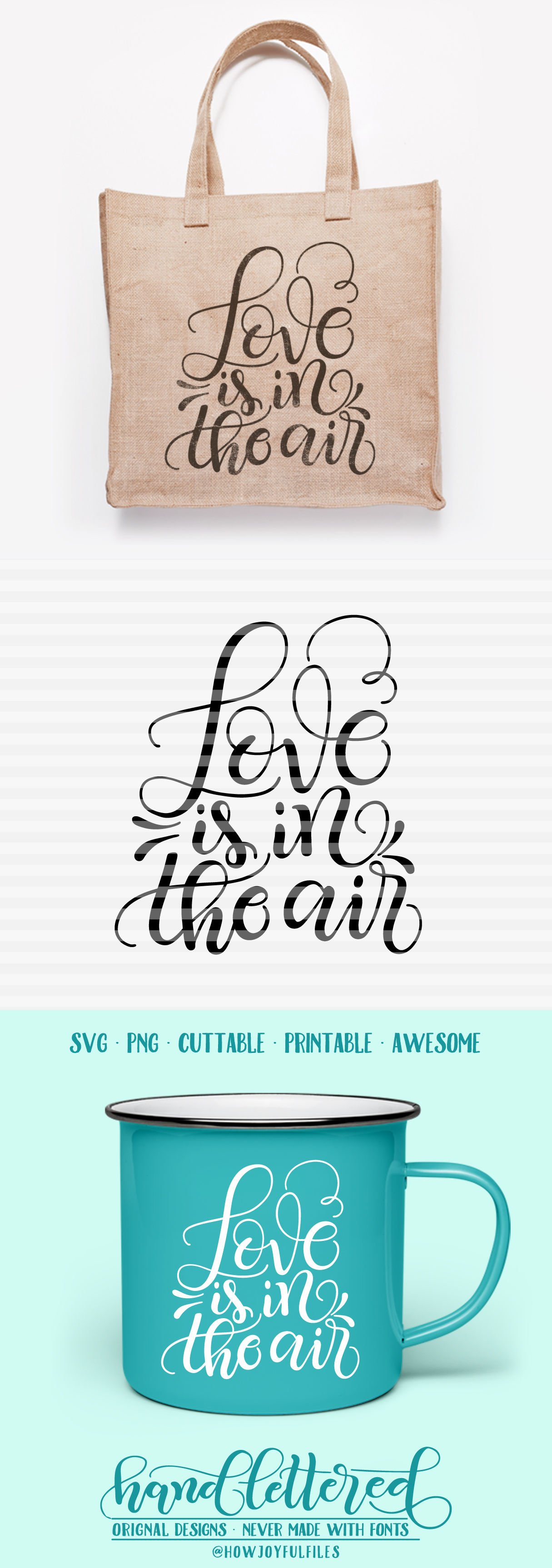 Download Love is in the air - SVG - PDF - DXF - hand drawn lettered ...
