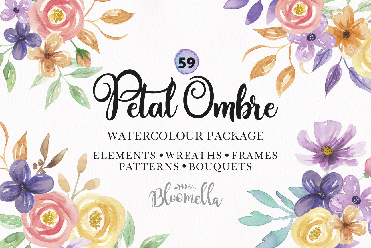 Watercolor Flowers Huge Package Patterns Frame Floral Pastel