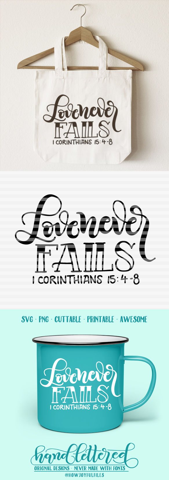 Love Never Fails Svg Dxf Pdf Hand Drawn Lettered Cut File By Howjoyful Files Thehungryjpeg Com