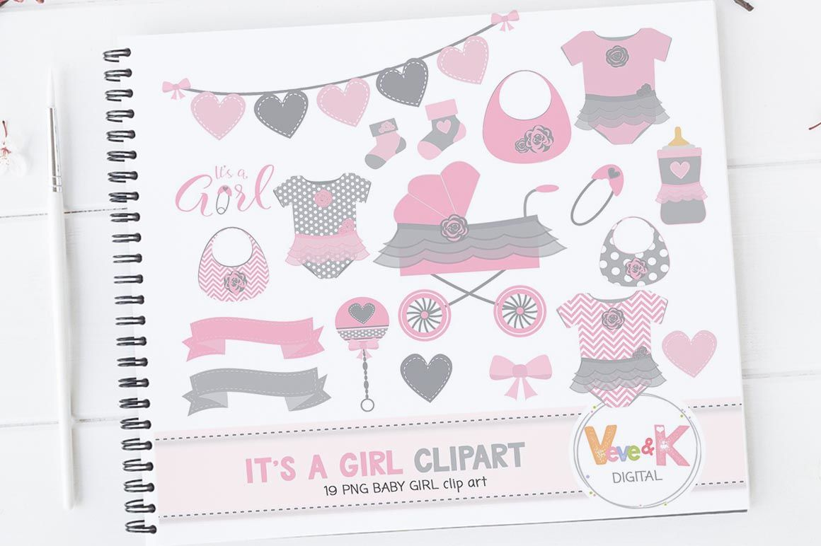 Newborn Baby Girl Clipart Set Baby Graphics By Veveandkdigital Thehungryjpeg Com