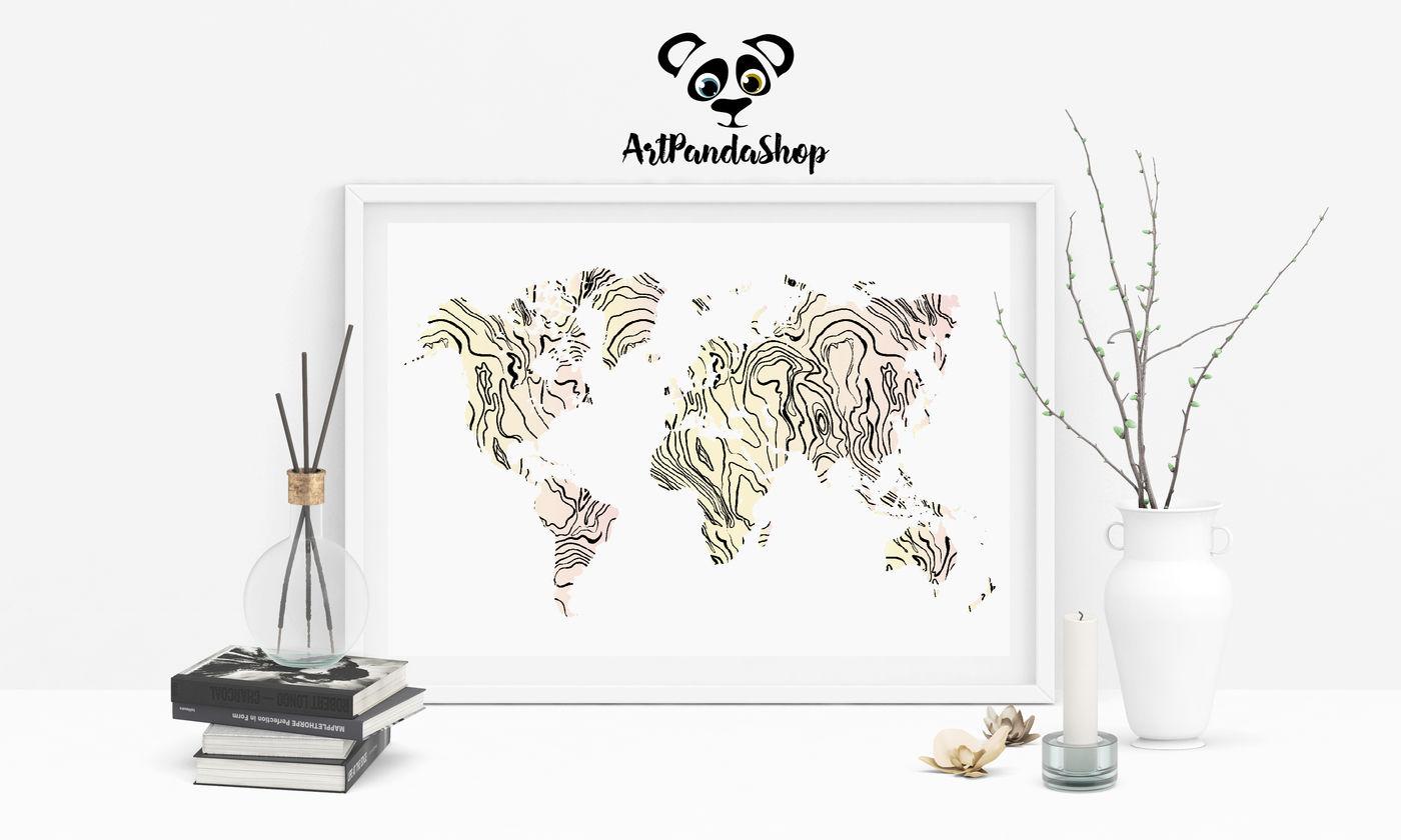 Printable World Map Home Decor By Artpandashop Thehungryjpeg Com