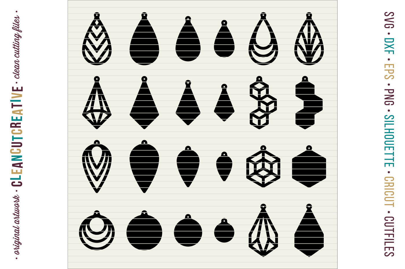 Set Of 24 Faux Leather Earrings Svg Dxf Eps Cricut And Silhouette By Cleancutcreative Thehungryjpeg Com