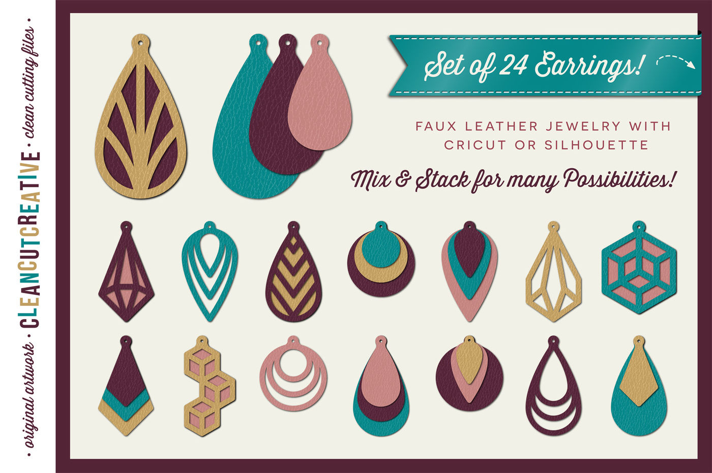 Download Set of 24 Faux Leather Earrings - SVG DXF EPS - Cricut and ...