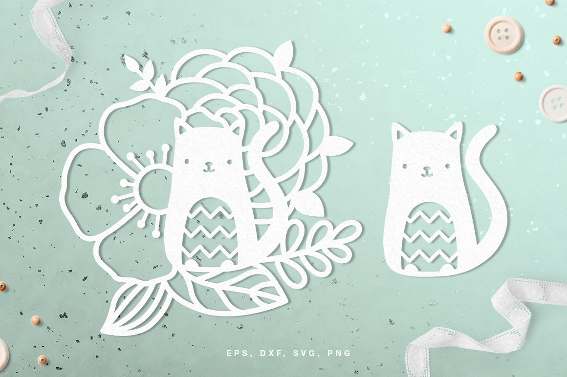 Floral Cat Digital Cut File Svg Dxf Png Eps By Inna Moreva