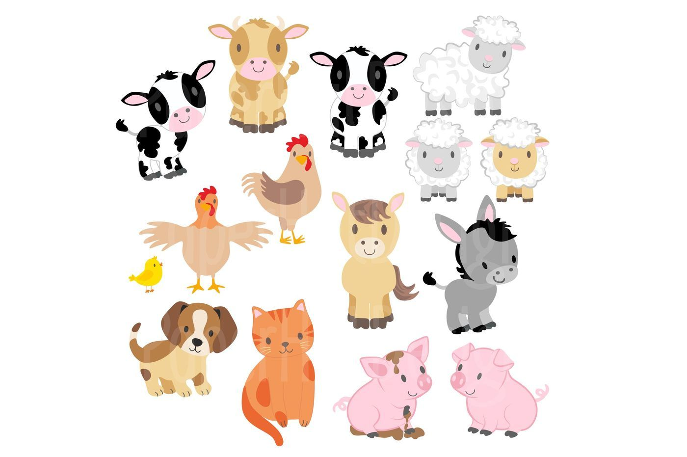 Farm Animals Clipart and Digital Paper Set By ...