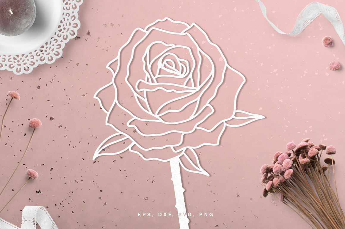 Floral Rose Flower Digital Cut File Svg Dxf Png Eps By Inna Moreva Thehungryjpeg Com