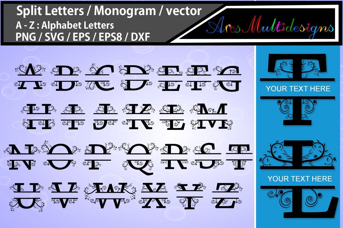 Split Letters Svg Monogram Vector Svg A Z Alphabet Svg Set Vec By Arcsmultidesignsshop Thehungryjpeg Com