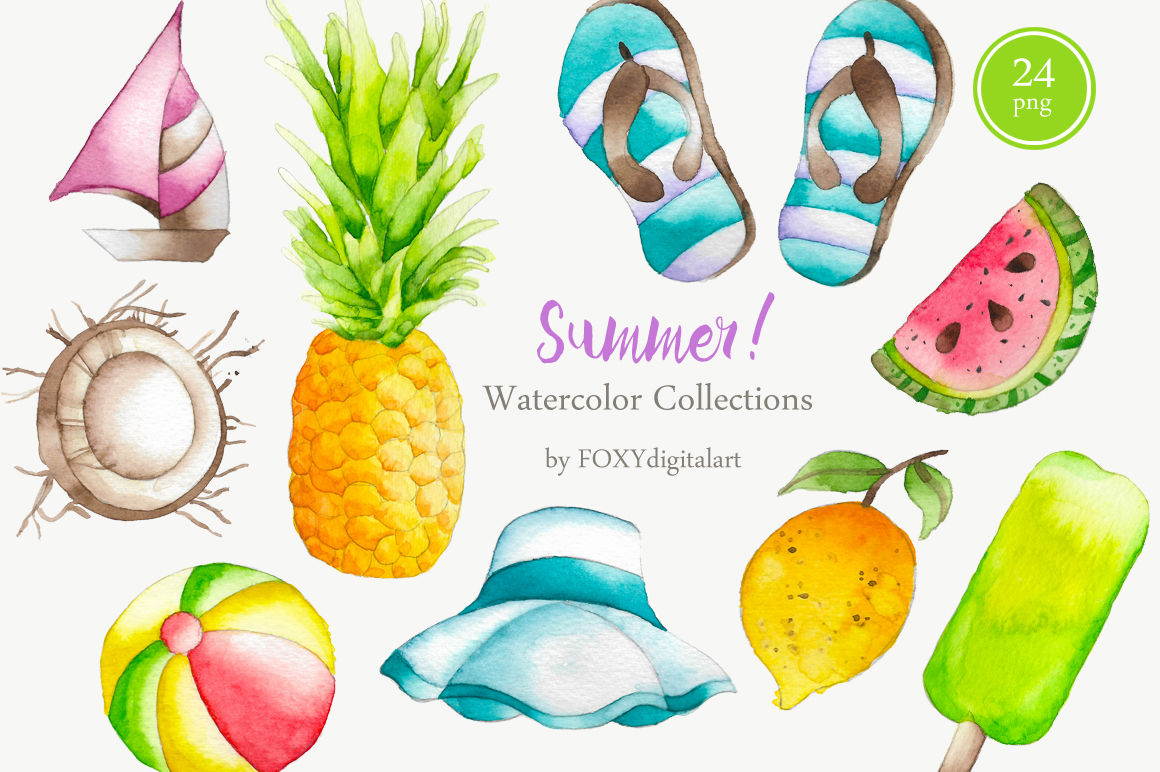Watercolor beach. Summer clipart by foxydigitalart