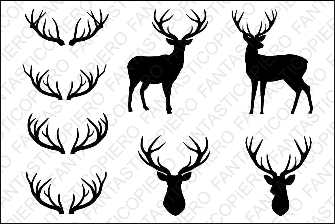 Deer Deer Head Antlers Svg Files For Silhouette Cameo And Cricut